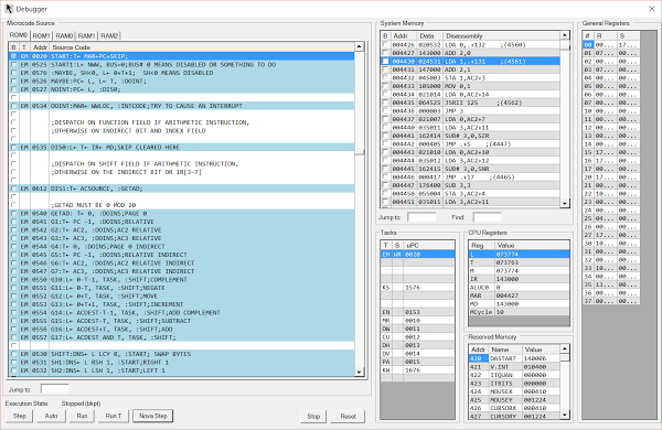 Debug window for the ContrAlto simulator. The left pane shows the microcode. The upper center pane shows the Nova program instructions that are running.