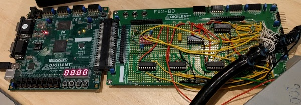 A Digilent FPGA board configured to control a Diablo disk drive.