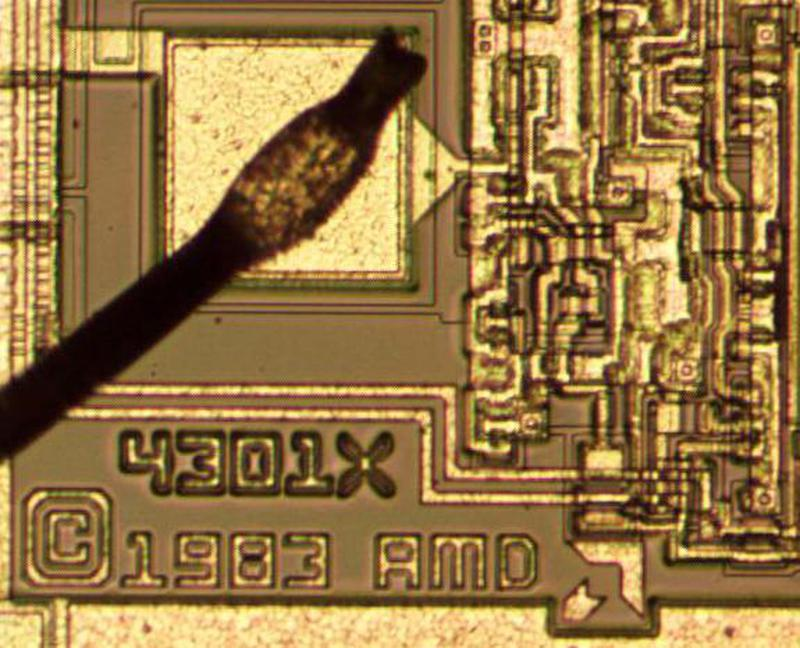 "A closeup of the die showing ""4301X"" (presumably an internal part number) and ""© 1983 AMD""."