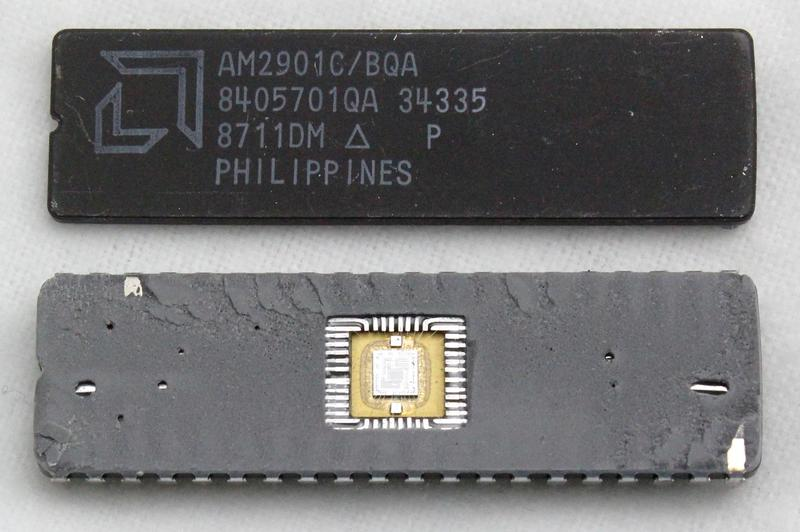 The Am2901 after separating the two halves of the ceramic package.