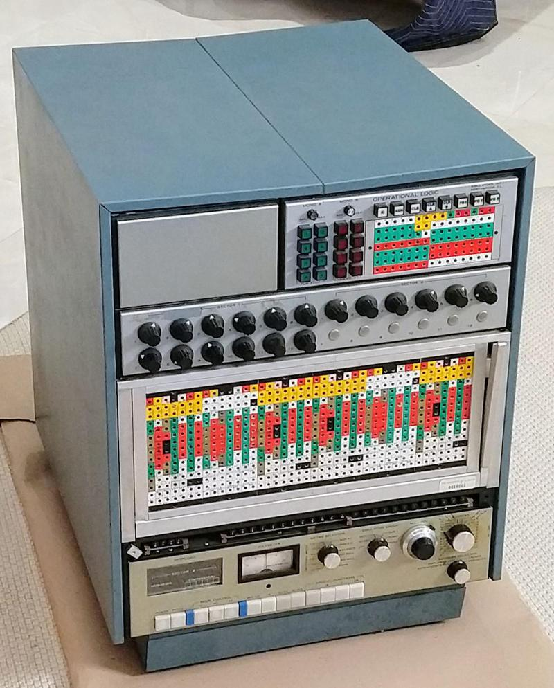 "The Model 240 analog computer from Simulators Inc. was a ""precision general purpose analog computer"" for the desk top, with up to 24 op amps. (This one has 20 op amps.)"