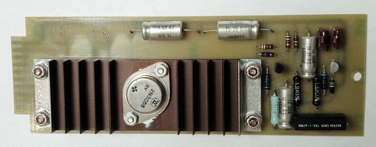 One of the voltage regulator cards. A large power transistor is attached to the heat sink.