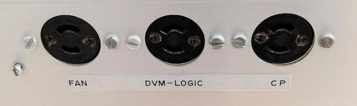 "The side of the power supply has three twist-lock AC sockets labeled ""FAN"", ""DVM-LOGIC"", and ""CP"" (control panel). The ""DVM-LOGIC"" socket powers a 5-volt supply for the digital logic, which we still need to repair."