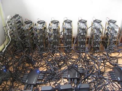 FPGA Bitcoin mining setup with 41 Icarus