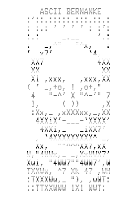ASCII image of Bernanke from the Bitcoin blockchain.