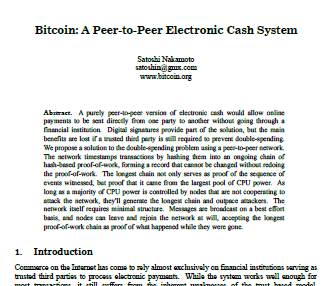 Thumbnail of the original Bitcoin paper.