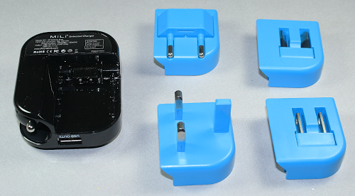 The Mili charger with adapters for different countries.