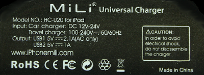 Label from the Mili charger.