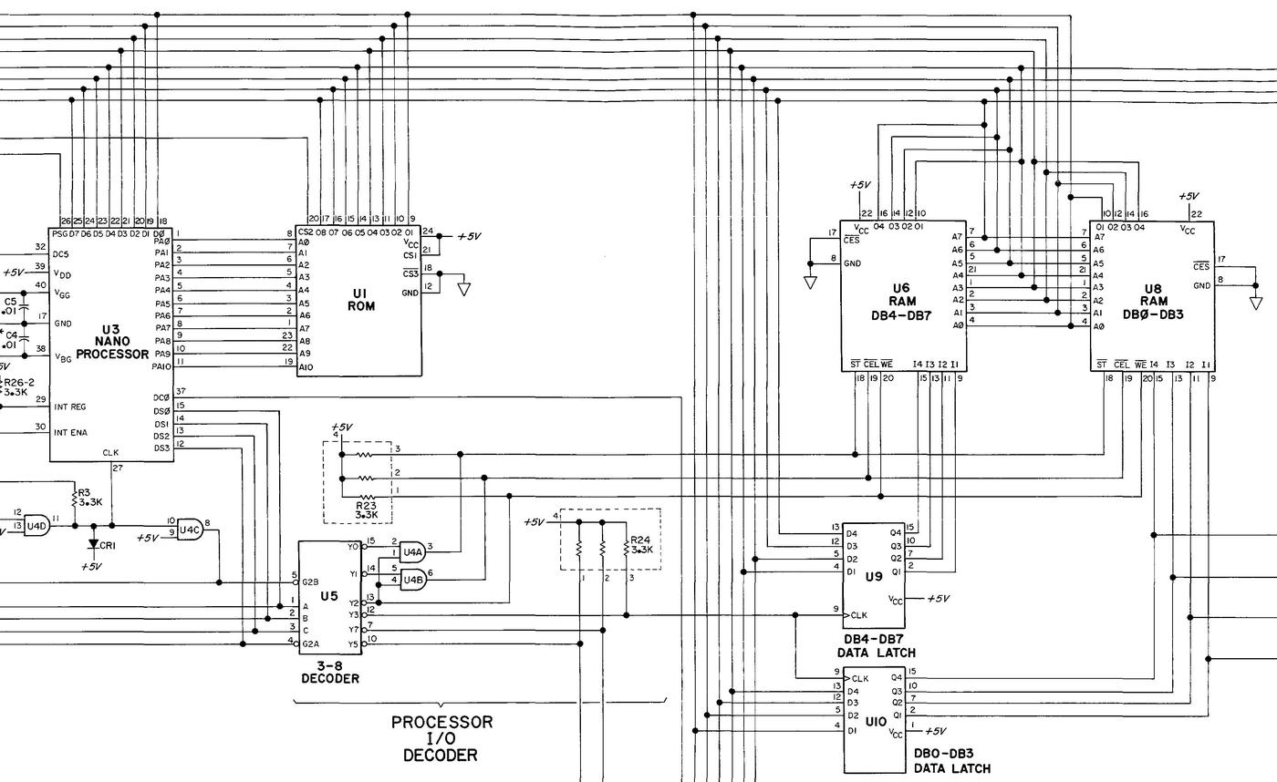 RAM chips connected to the Nanoprocessor. From the Clock service manual.