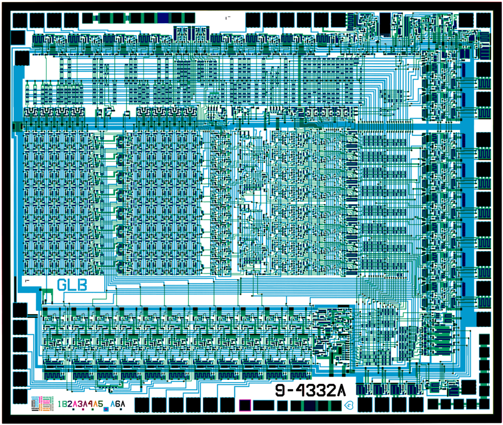 "Combined masks from the Nanoprocessor. Click for larger image. ""GLB"", to the left of the data bus, stands for the designers George Latham and Larry Bower. Files courtesy of Antoine Bercovici."