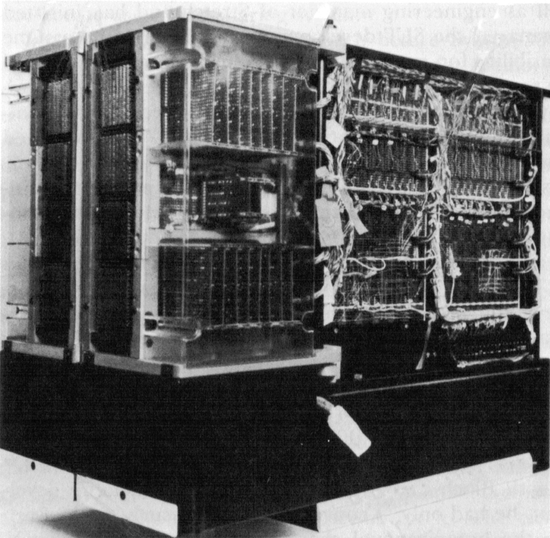 128 KB core module assembly. Two core memory stacks are at the left, and the supporting circuitry is on the right. Fans (black) are at the bottom. Photo from IBM's 360 and Early 370 Systems.