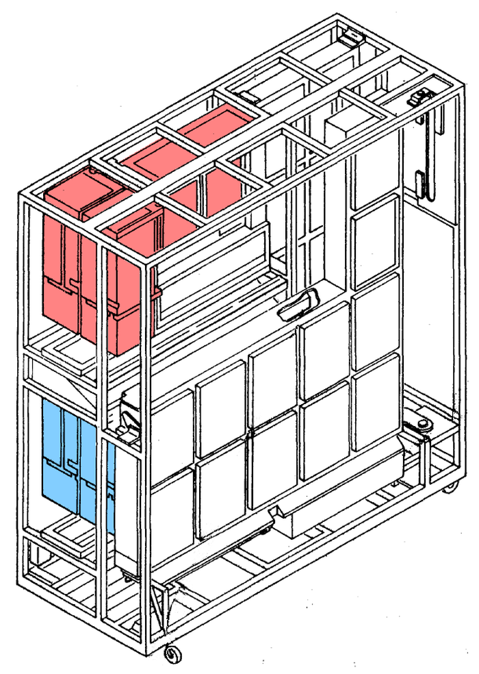 The storage frame of the Model 50 held two 128-kilobyte core memory units (red and blue), along with other memory circuitry. Diagram based on the Parts Catalog.