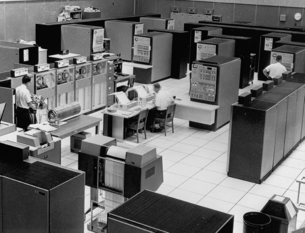 FAA center in Jacksonville using multiple IBM mainframes. Three Model 65s are along the left wall, while three Model 50s are towards the back. The control panel in front of the Model 50s is not a computer but a system monitoring panel. From FAA: A historical perspective, chapter 4.