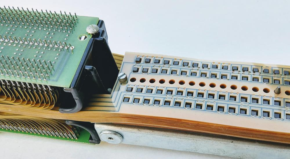 The TROS module, showing the diode boards and the stack of 128 Mylar tapes.