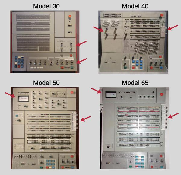 Common IBM System/360 consoles, with distinguishing features identified. The number of roller knobs on the right (0, 2, 4, or 6) provides a convenient way to tell the models apart.