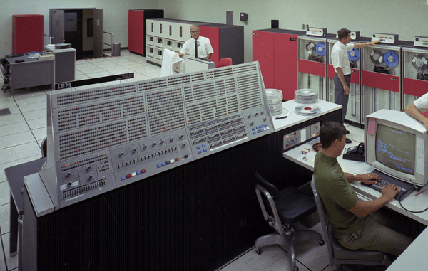 Console of the IBM System/360 Model 91. The very large computer itself is not visible in this photo. Photo source unknown.