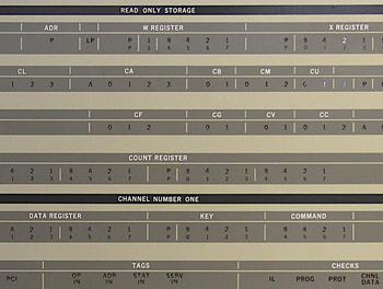 Closeup of the IBM S/360 Model 30 console showing indicators for the microcode (read only storage) and I/O channel. These registers were used internally and were not visible to the programmer.