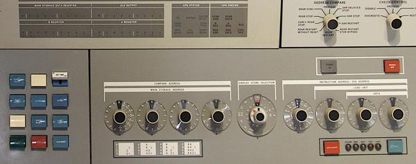 The lower part of the Model 30 console was used for operator intervention. Note the binary-to-hexadecimal conversion chart below the hexadecimal dials.