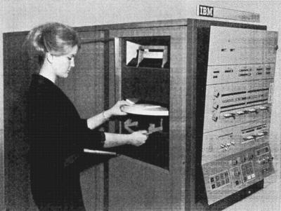 The Model 44 had a disk drive or two in the side of the computer that used a removable IBM 2315 Disk Cartridge. Photo from Model 44 Functional Characteristics.