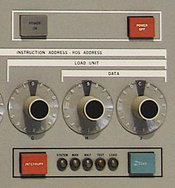 "The ""operator control"" section of the control panel was used for basic tasks such as booting the system (called Initial Program Load or IPL). The buttons provided ""Power On"", ""Power Off"", ""Interrupt"", and ""Load"", while the lights indicated if the system was running."