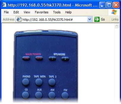 Image of remote control in Internet Explorer