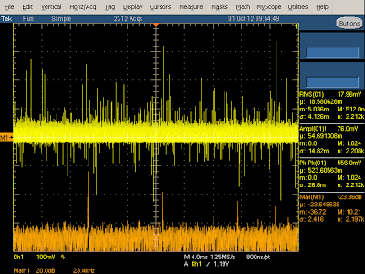 KMS charger output (yellow)and spectrum (orange) at 2A.  Note the spectrum peaks at 60.1 kHz and harmonics.