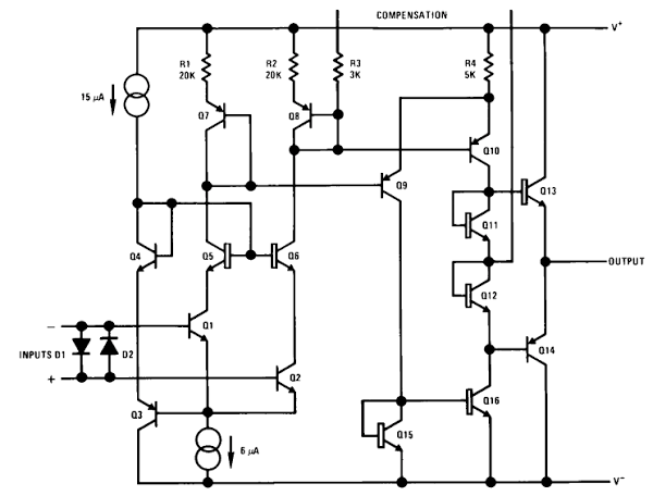 Simplified schematic of the LM108 op amp.