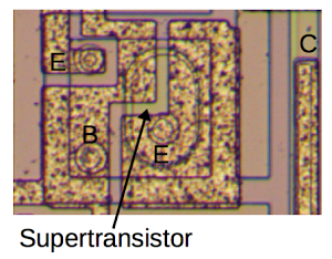 This unusual transistor from the LM108 has two emitters: one has a regular base and one has a supertransistor base. The second emitter is not connected to anything.