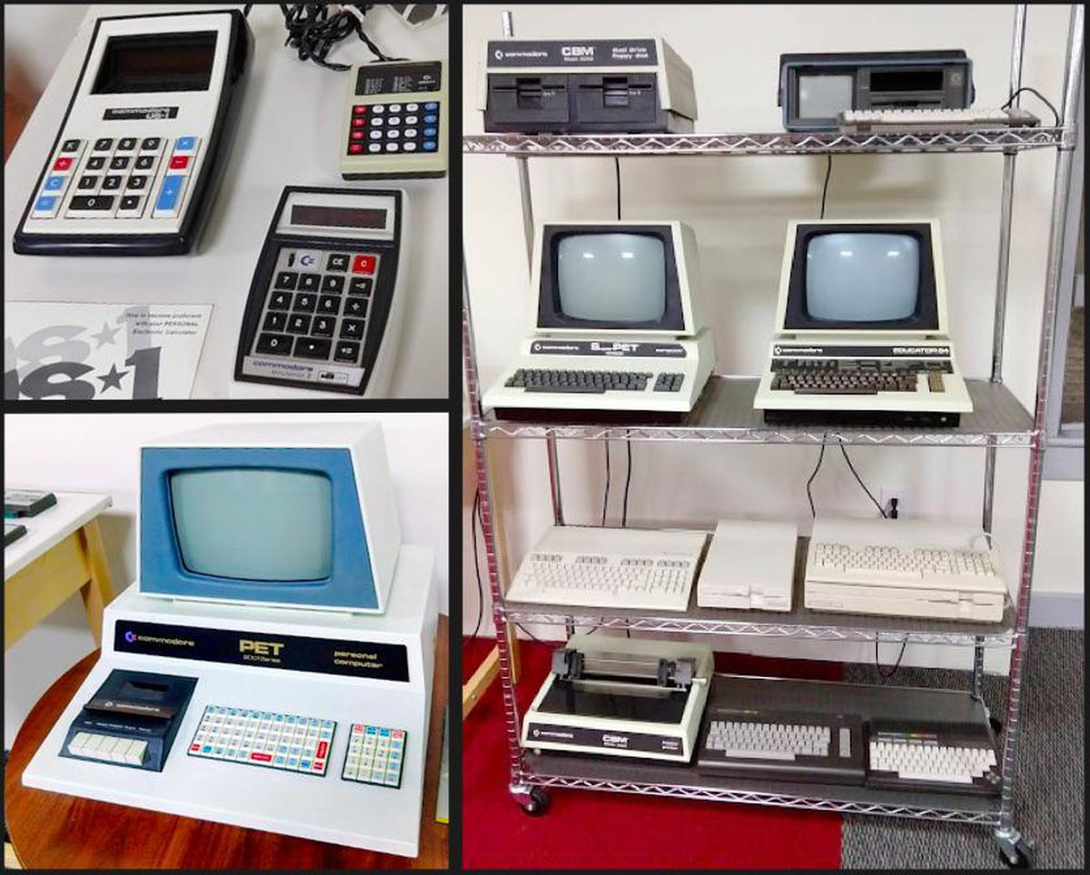 The Commodore collection includes calculators, Commodore Super PET, Educator 64, PET 4032, and PET 2001