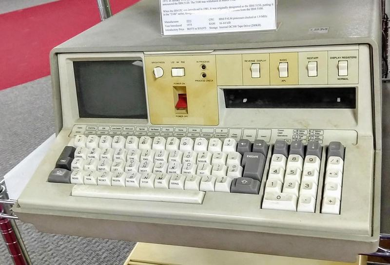 The IBM 5100 portable computer was introduced in 1975, six years before the IBM PC. Its keyboard has special characters for the APL language.