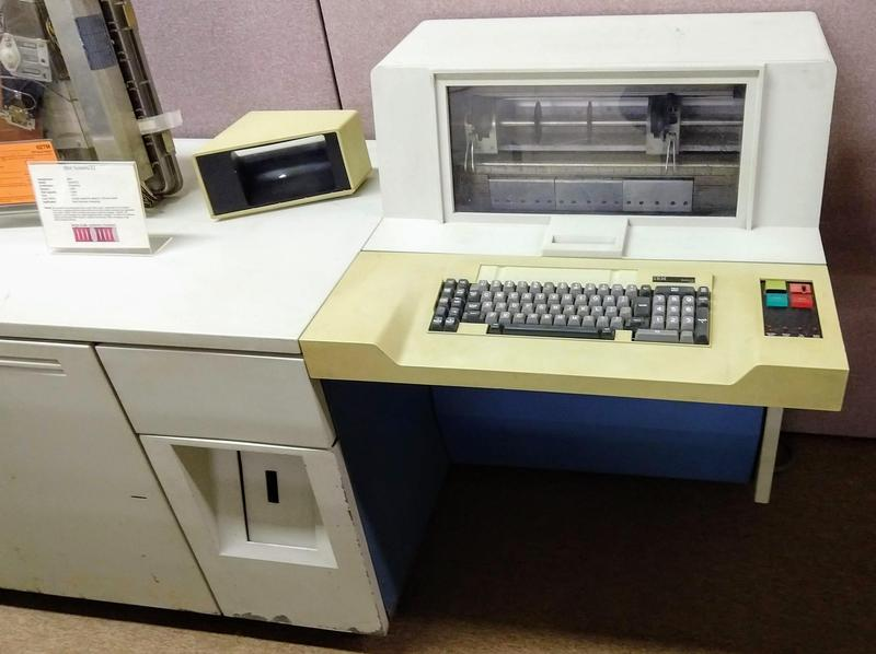 This IBM System/32 had 16 KB of memory and 13 MB of disk storage. It leased for $1200 per month.