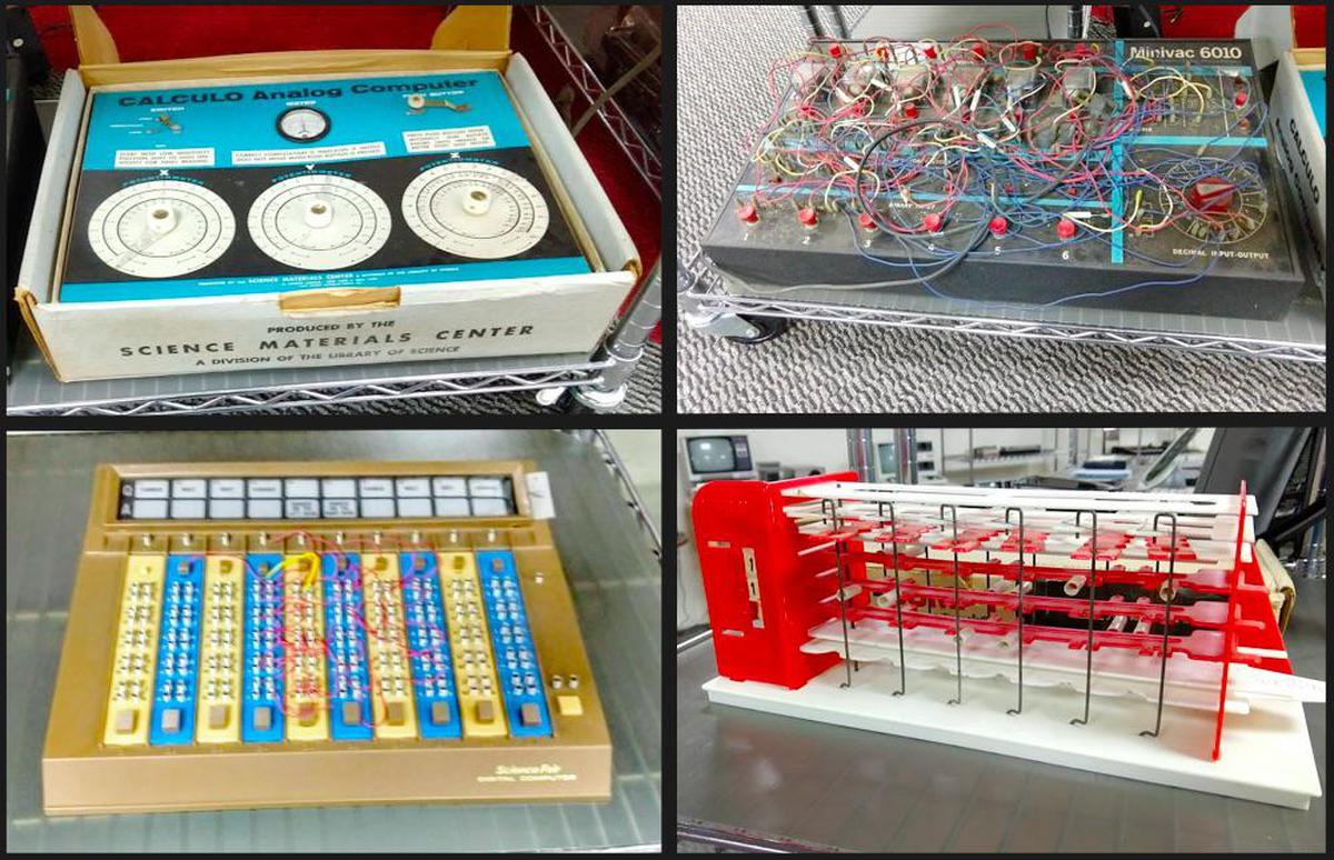 The collection includes toy computers such as the CALCULO Analog Computer, MINIVAC 6010, Radio Shack ScienceFair Digital Computer, and Digi-Comp 1.