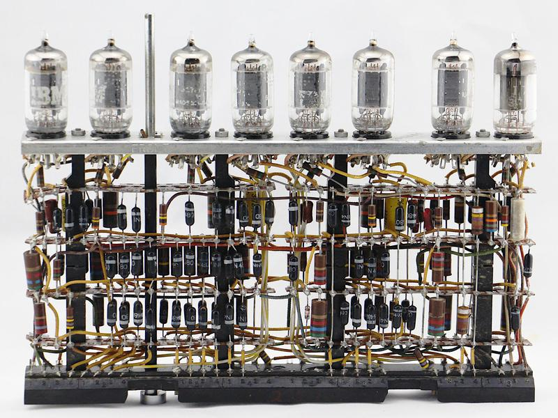 Tube module from an IBM 700-series computer in the 1950s. Note the many diodes, especially in the lower left.