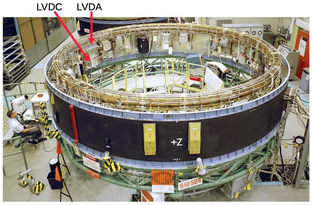 The Saturn V Instrument Unit under construction. The LVDC (Launch Vehicle Digital Computer) and LVDA (Launch Vehicle Data Adapter) are silver boxes. For scale, note the engineer sitting on the left. Photo from NASA.
