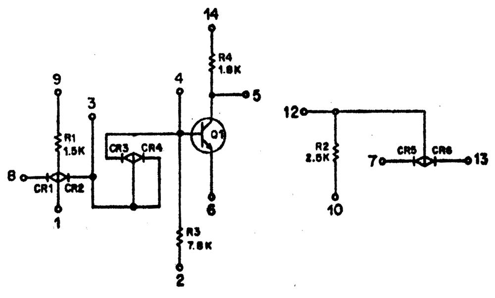 "Schematic of the ""INV"" inverter module. Based on  Saturn V Guidance Computer, Semiannual Progress Report, page 2-37. Pins 7 and 14 switched from original, which didn't match the actual circuitry."