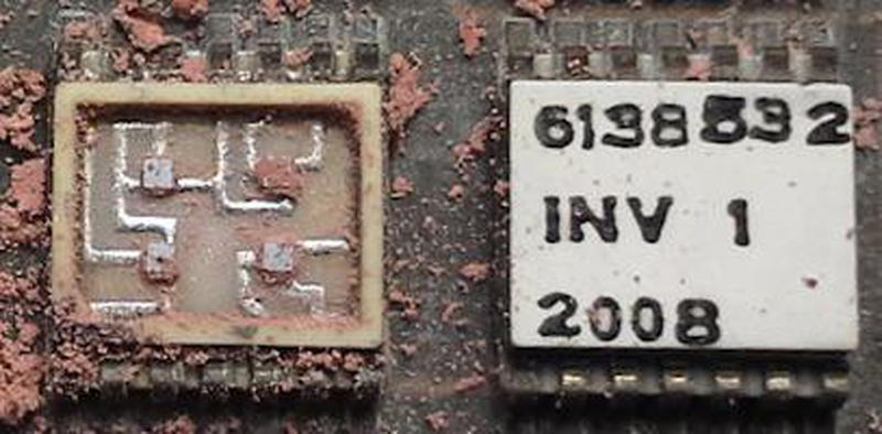 "A ULD of type ""INV"" opened to show the four silicon dies inside. The upper-right die is a transistor, while the other three dies are dual diodes. The module was protected by pink silicone, which has been removed to show the circuitry. Photo courtesy of Fran Blanche."