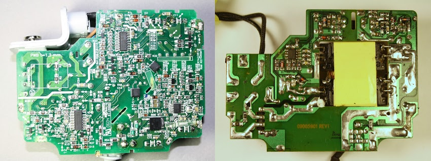 The circuit board of the Apple 85W Macbook charger (left) compared with an imitation charger (right). The genuine charger has many more components.