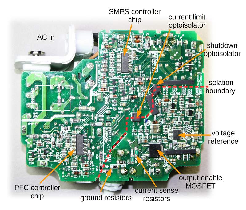The printed circuit board from an Apple 85W Macbook power supply, showing the tiny components inside the charger.