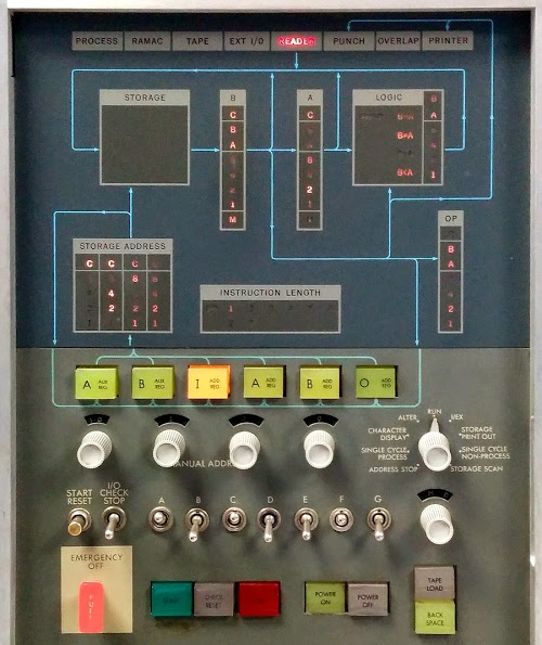The console of an IBM 1401 mainframe.
