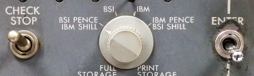 This knob on the control panel of the IBM 1401 computer selects the storage mode for pence and shillings.