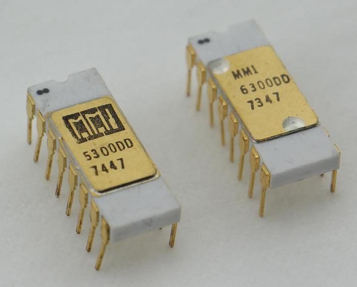 The MMI 5300 and 6300 PROM chips are in ceramic packages. The chips have 1974 and 1973 date codes.