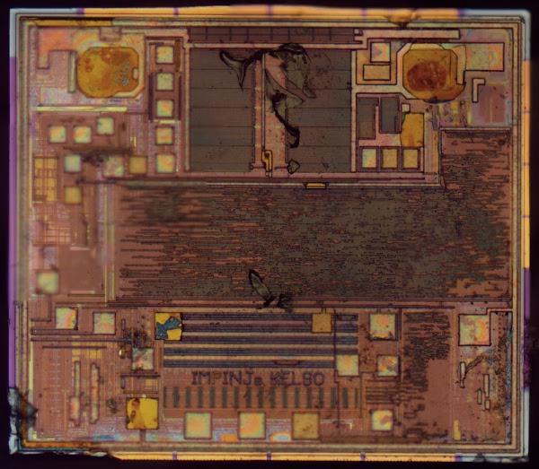 Die photo of the Impinj Monza R6 RFID chip.
