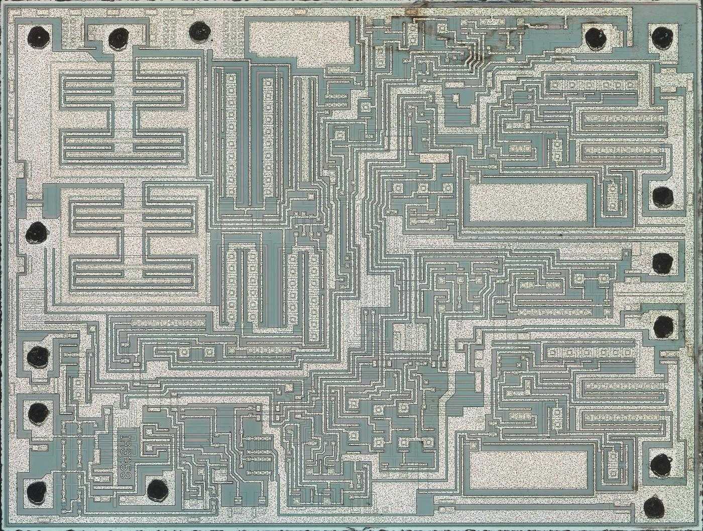 Die photo of the audio amplifier chip in the Nintendo Game Boy Color. Click this (or any other image) for a larger image. Photo courtesy of John McMaster.