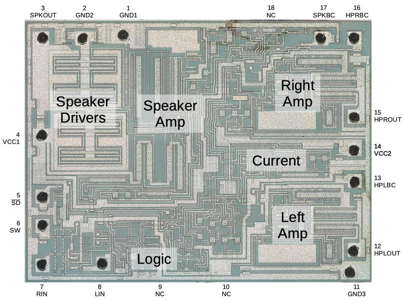 The chip with pins and key functional blocks labeled.