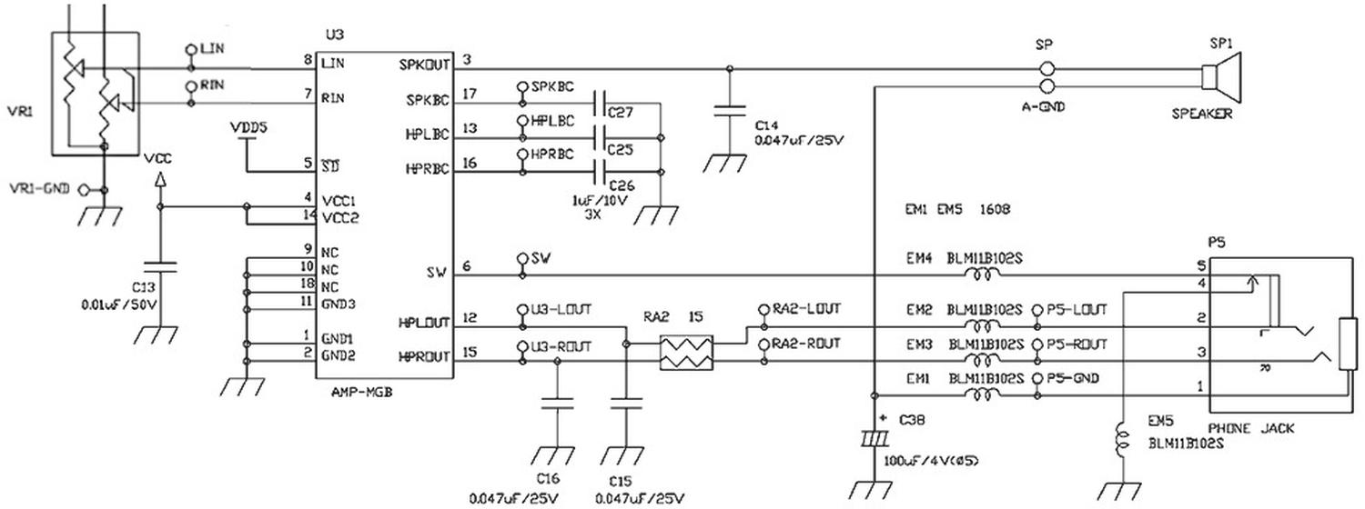 Schematic showing the audio chip's role in the Game Boy Color. From Consoles TechWiki.