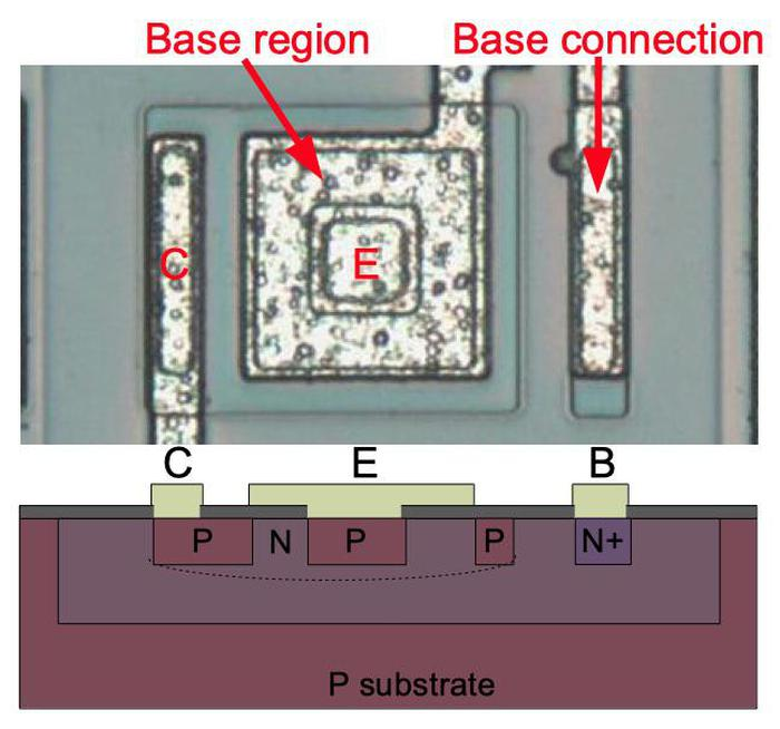 A PNP transistor in the chip. Connections for the collector (C), emitter (E) and base (B) are labeled, along with N and P doped silicon. The base forms a ring around the emitter, and the collector forms a ring around the base.