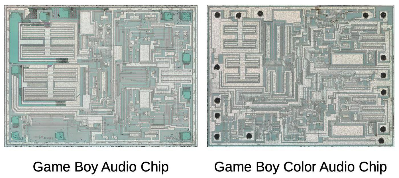 Comparison of the audio amplifier chip from the Game Boy (left) and Game Boy Color (right). Photos courtesy of John McMaster.