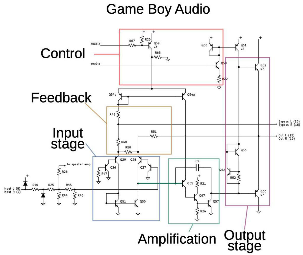 Schematic of the Game Boy headphone amplifier that I created by reverse-engineering the die.