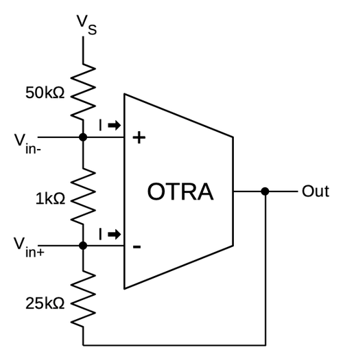 My simplified schematic of the LM380, using an operational transresistance amplifier.