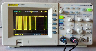 The Rigol DS1052E digital oscilloscope.
